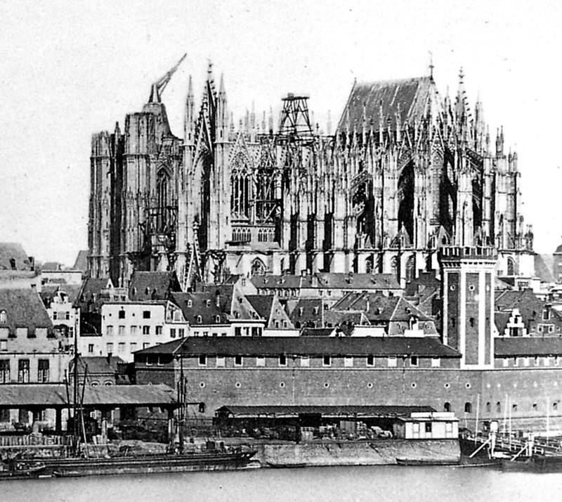 Unfinished Cologne Cathedral in 1856 with ancient crane on south tower