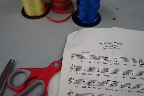Wassail song, scissors, ribbon
