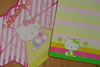 Hello Kitty pasted yellow striped envelope & candy bow die cut note let