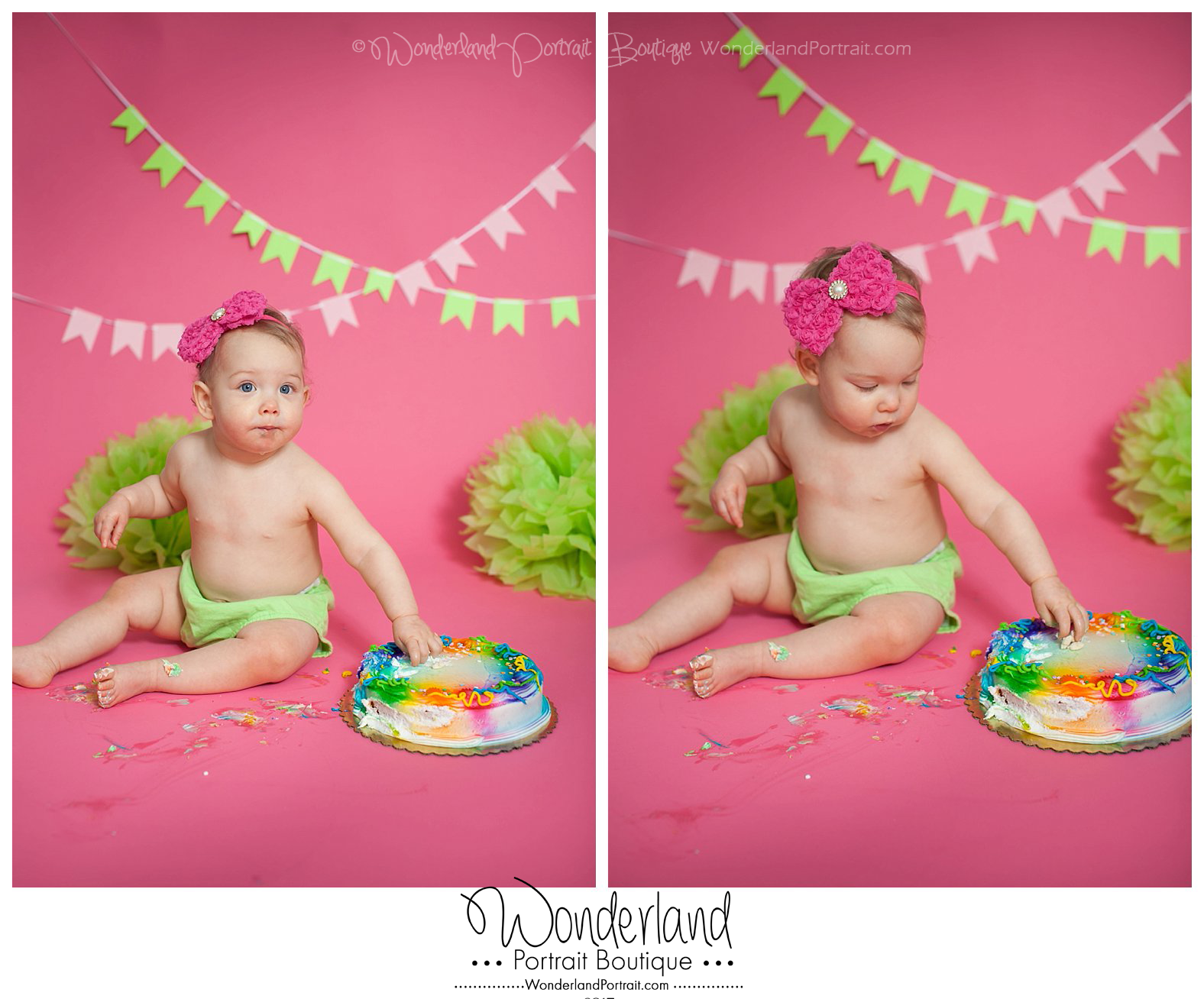 Cake Smash Idea Pink and Green Girl Richboro PA WonderlandPortrait.com