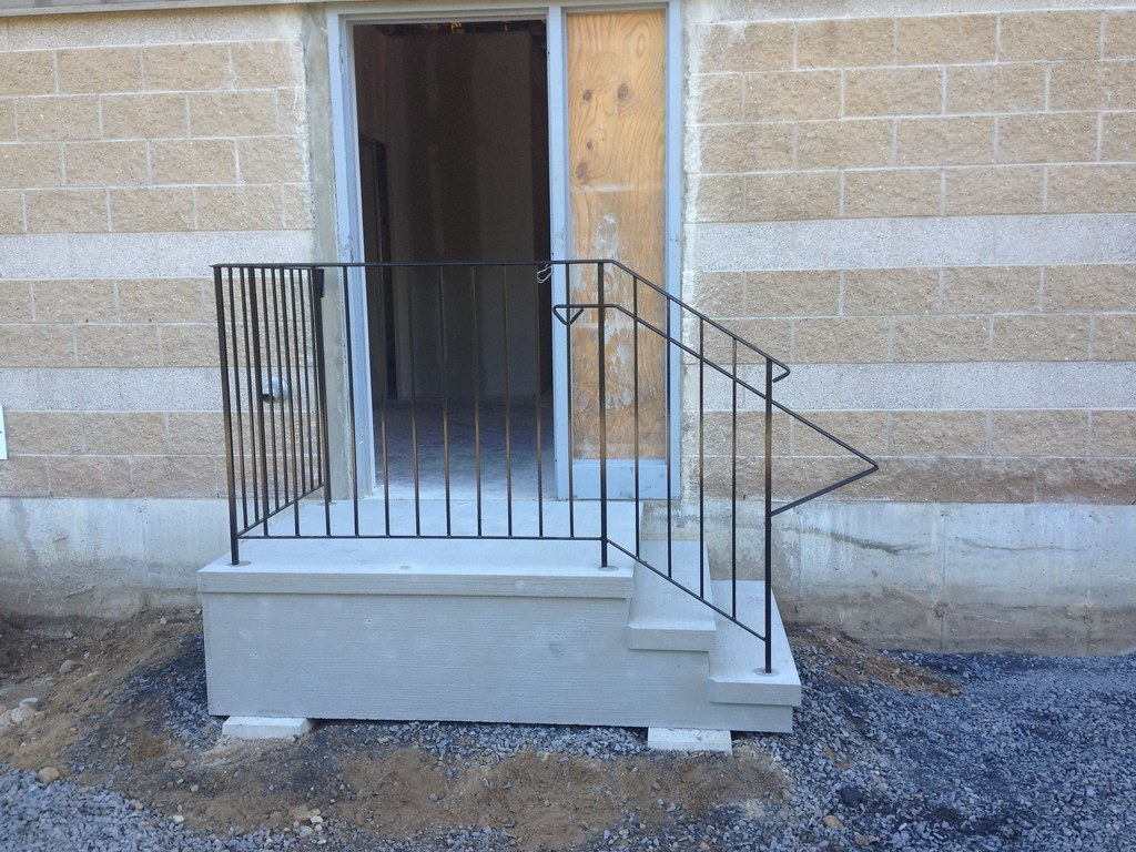 Commercial L Shape Stairs With Commercial Wrought Iron Railings