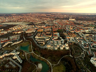 Sun is ging down over munich.