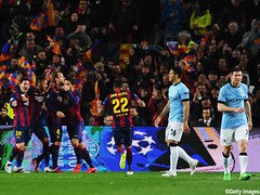 during the UEFA Champions League Round of 16 second leg match between Barcelona and Manchester City at Camp Nou on March 18, 2015 in Barcelona, Spain.