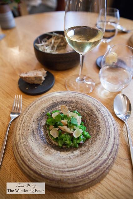 "Green bean, onion, Jabugo ham paired with Domaine de l'Hortus ""Grande Cuvée"" blanc"