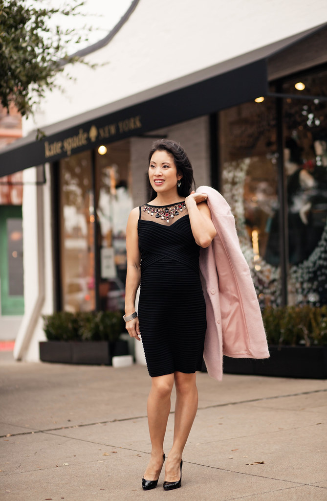 cute & little blog | petite fashion | maternity bumpstyle third trimester 33 weeks | dressbarn embellished pintucked sheer mesh little black dress lbd, pink wool coat | winter holiday outfit