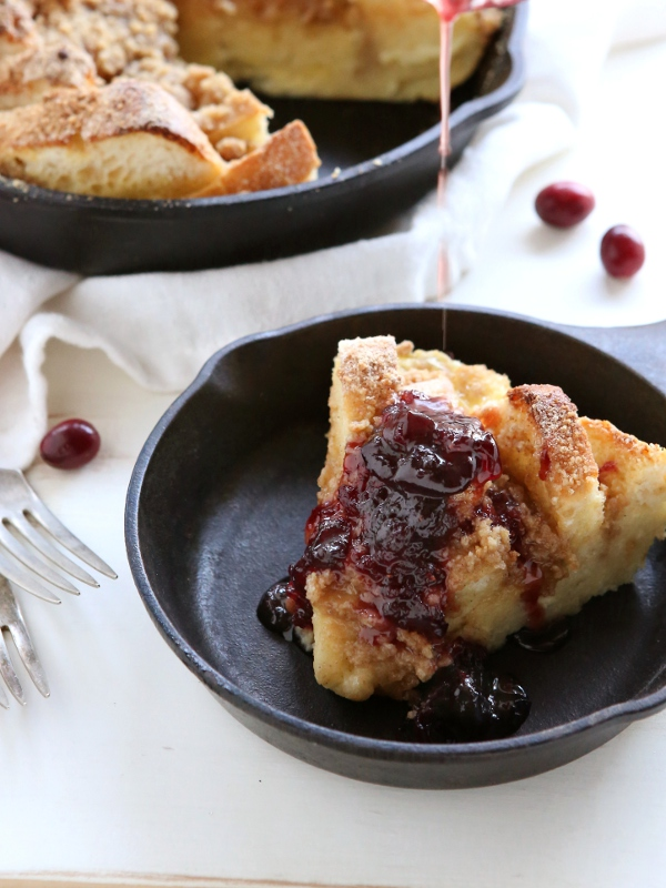 Baked French Toast with Streusel Topping & Cranberry Maple Syrup | completelydelicious.com