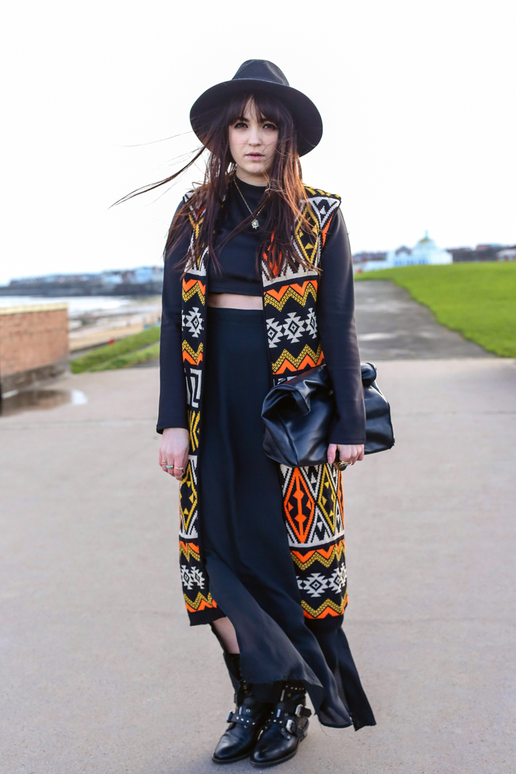 paxton, aztec long waist coat, boho fashion