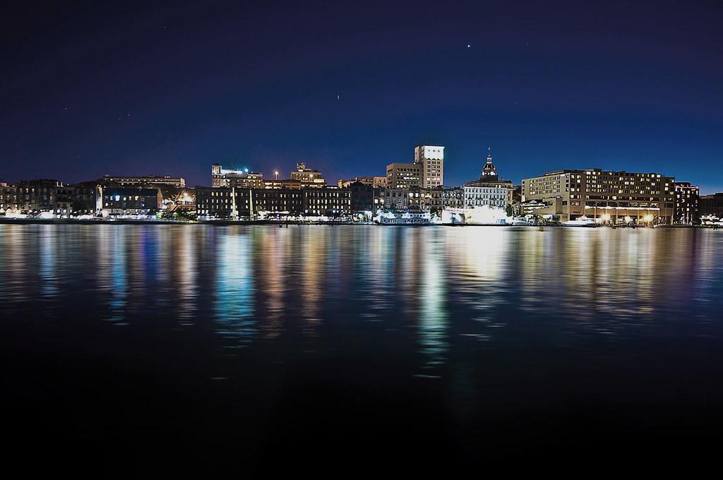 View of the Savannah, Georgia, U.S.A. skyline from across the Savannah River @ the Blue Hour.