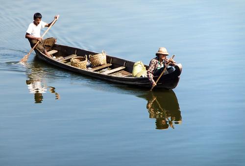 Boat on the Water Beside U Bein Bridge in Mandalay, Myanmar