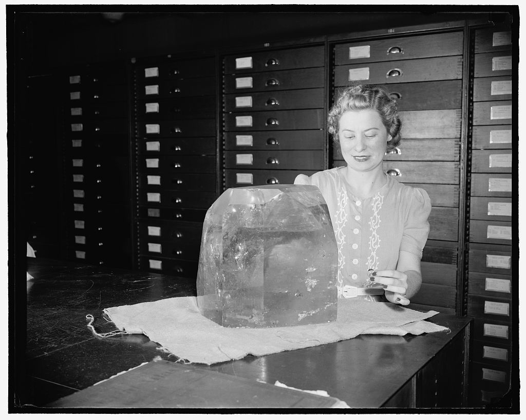 Identified! [Woman with large topaz crystal from Brazil, Museum of Natural History, Smithsonian Institution, Washington, D.C.]  (LOC)
