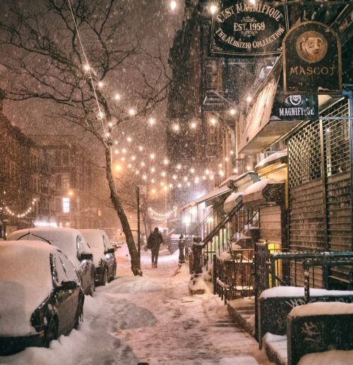 New york snowy street