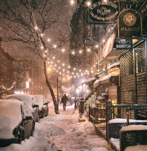 New york snowy street