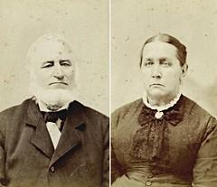 Cornelius and Sarah Blodgett Denham (CDV's by W.C. Marsh, Quincy, Michigan)