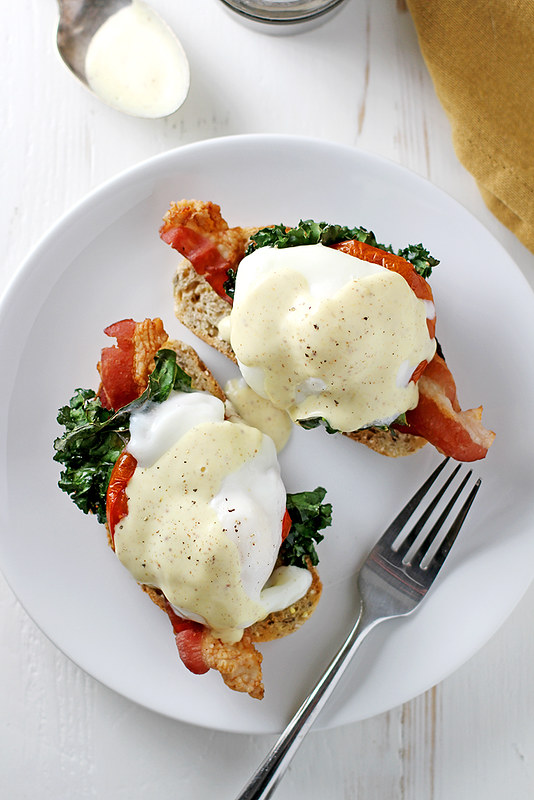 (Healthier) Bacon, Kale and Roasted Tomato Eggs Benedict {KitchenAid Blender Giveaway} | girlversusdough.com @stephmwise