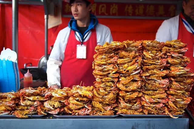 deep-fried crab, 东华门夜市 (Dong Hua Men Night Market), Beijing, China
