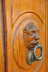 carving, art, wood, door knocker, door,