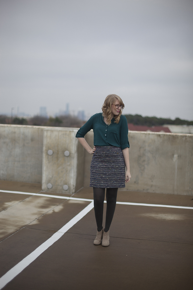 jewel tone tweed skirt