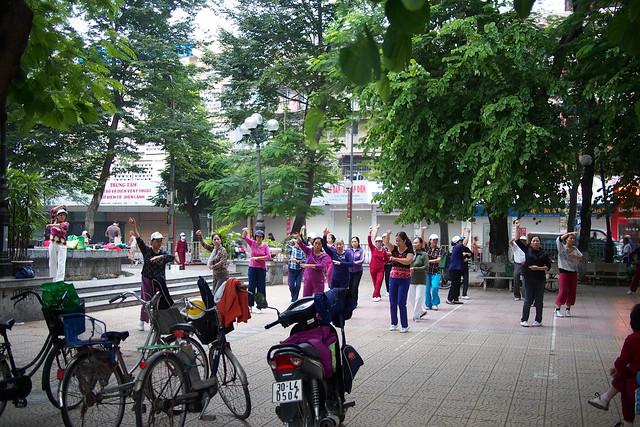 communal dancing, Hanoi, Vietnam