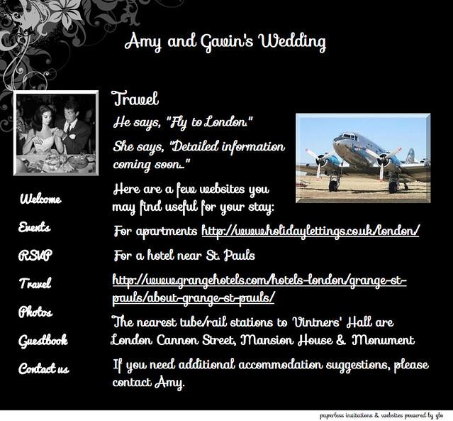 glosite wedding website travel page