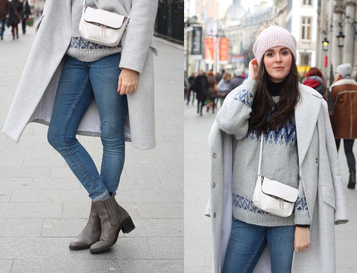 warm winter outfit: grey wool winter coat, fair isle knit, cheap monday denim