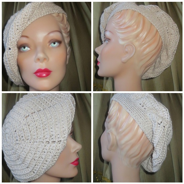 smaller version of my irish crochet Tam hat minus the embellishments