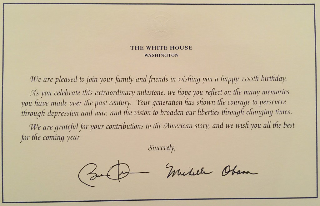 Mother Irene 100 Years Old Birthday Card From President Obama