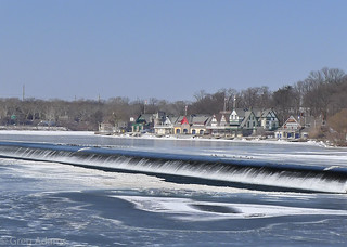 Boathouse Row above the falls in Winter