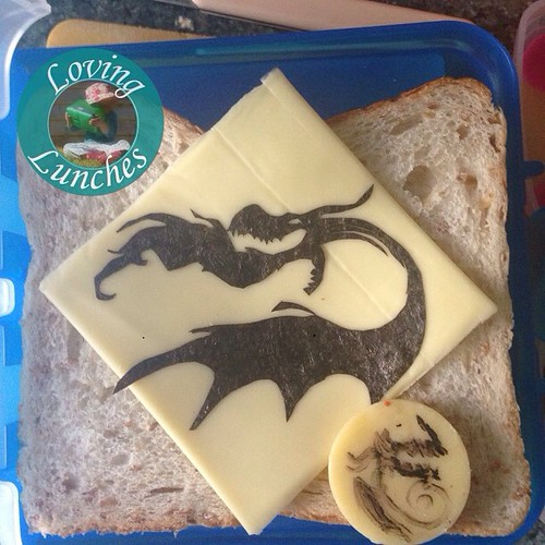 Loving a #Hookfang inspired #noricutting for Miss M's lunch tomorrow… FooDoodlers on the cheese round for afternoon tea. #httyd #HowToTrainYourDragon