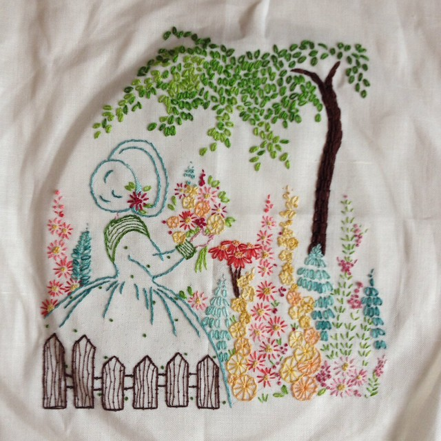 Embroidered crinoline lady