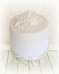 Ivory Poinsettia Wedding Cake