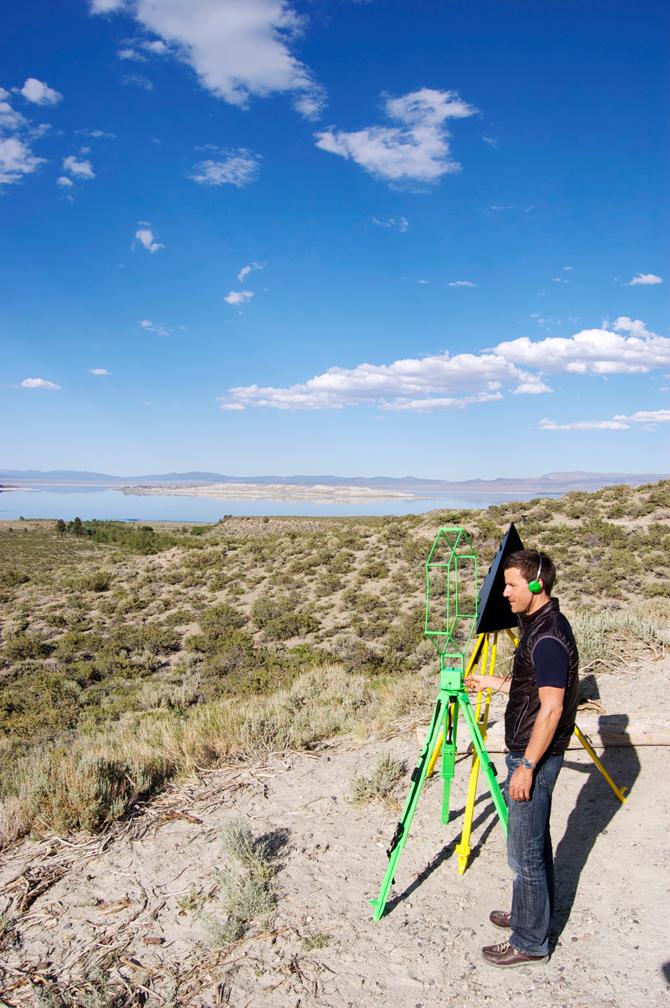 Geoff tuning into VLF at Mono Lake