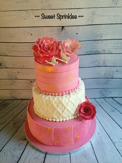 Roses & Butterflies Cake by Τzenh Νaka of Sweet Sprinkles