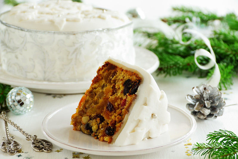 Traditional Christmas fruit cake with candied fruit and fruit.