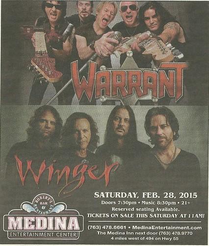 02/28/15 Warrant/ Winger @ Medina Entertainment Center, Medina, MN