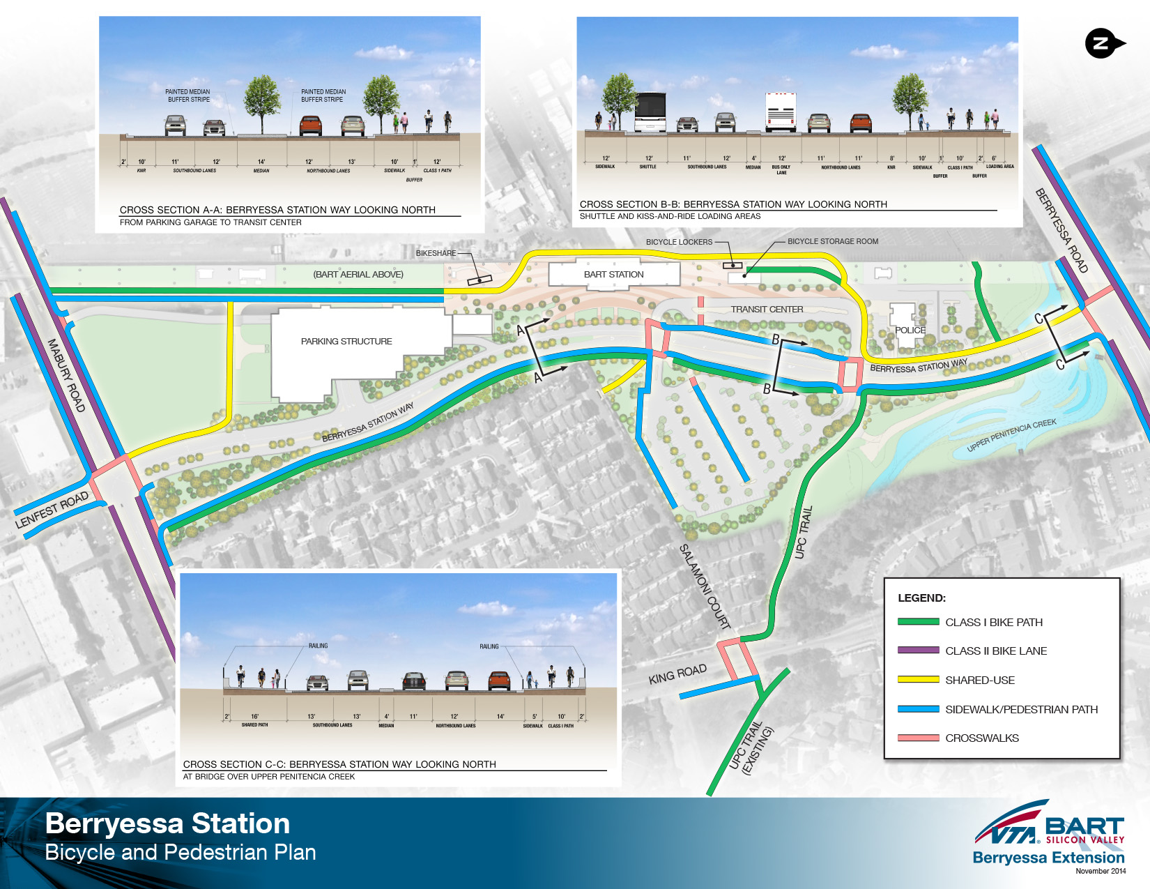 Berryessa BART Station bike and pedestrian access diagram