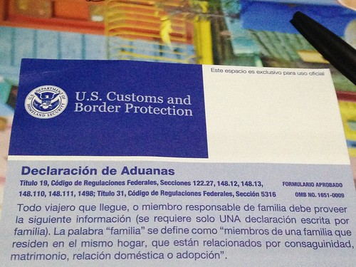 Declaración de Aduanas, NYC