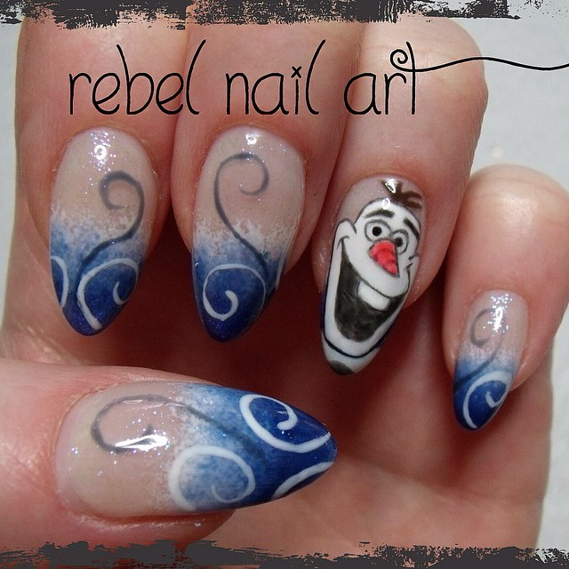 Olaf nails! Gel overlays with Gelish nail art, entirely hand painted ...