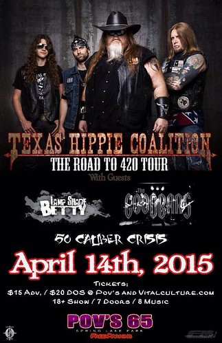 04/14/15 Texas Hippie Coalition/ Lamp Shade Betty/ The GooDBarS/ 50 Caliber Crisis @ Pov's 65, Spring Lake Park, MN