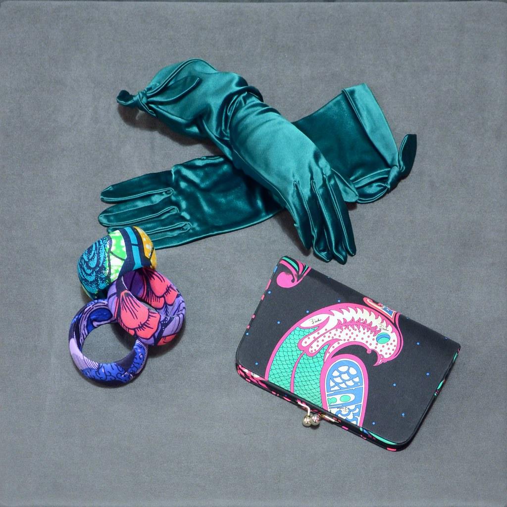 Pucci Clutch Bag - Fabric Bracelet - Satin Gloves