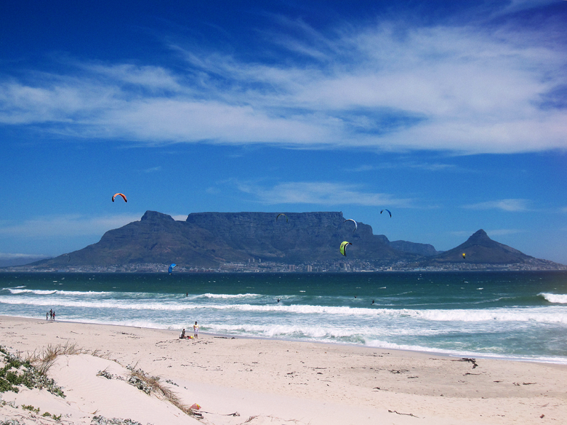 vie of table mountain from big bay beach