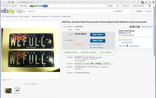 Super classy 'WEFULL' Victorian registration plates for sale on eBay