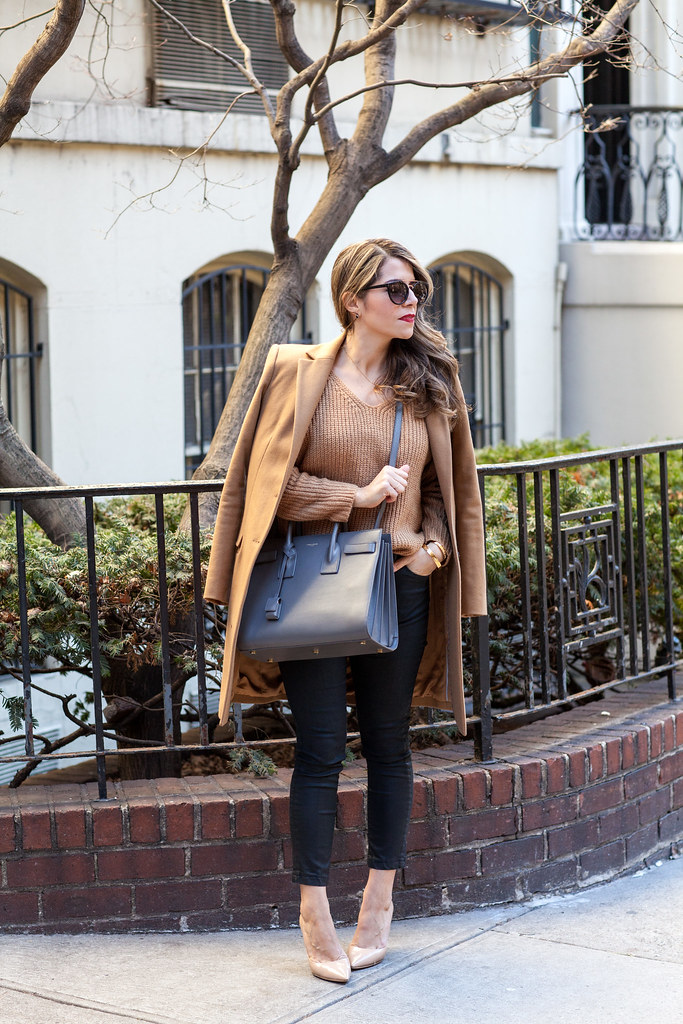 saint laurent sac de jour earth grey designer bag lookbook store camel coat sweater casual outfits coated pants nyc fashion blogger dvf bethany heels nude heels kate spade bracelet camel trench coat urban outfitter