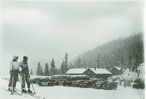 A historical look back at an early U.S. Forest Service shelter house and parking area at Loveland Winter Sports Area on the Arapaho-Roosevelt National Forests. (U.S. Forest Service/Jay Higgins)