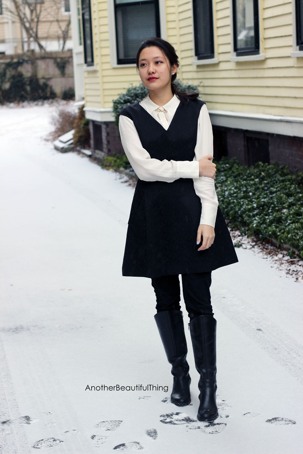Winter styling for your wardrobe - silk shirt under a v neck dress