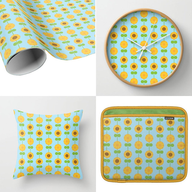 Sunflower patterns at Society6 + Zazzle