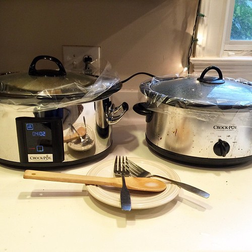 Two six quart crockpots on the counter plus the Dutch oven in the oven since a little after 6am. It can only mean one thing - Sunday lunch is coming!