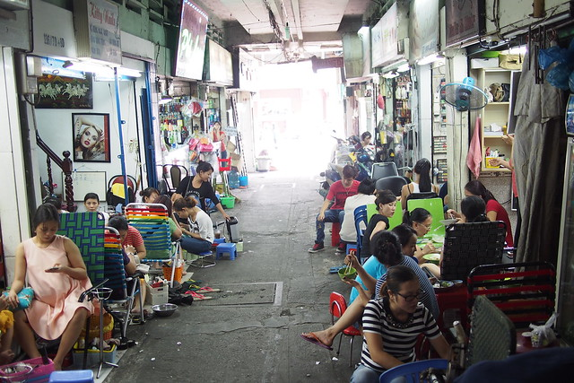 alleyway of pedicure and manicure shops, Ho Chi Minh City (Saigon), Vietnam