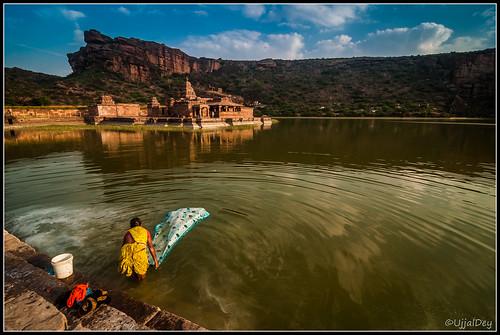 india lake reflection wash karnataka badami ujjal dailyactivity chalukyadynasty bhootnathtemple ujjaldey agastyalake ancientchlukyadynastyujjalujjaldeyancientbadamikarnatakaruinujjaldeyin