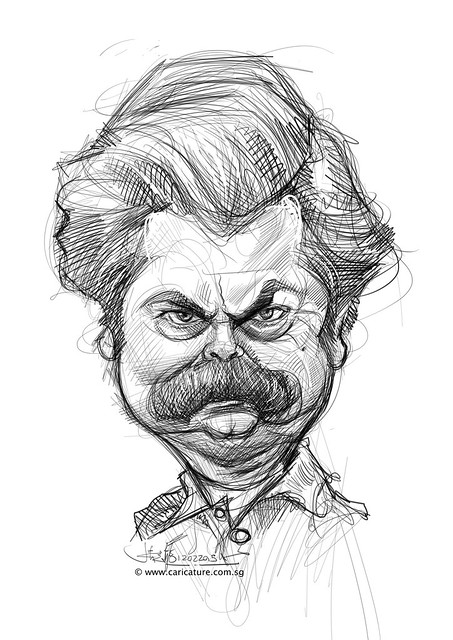 digital Nick Offerman caricature sketch