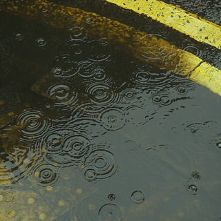 Yellow lines and raindrops